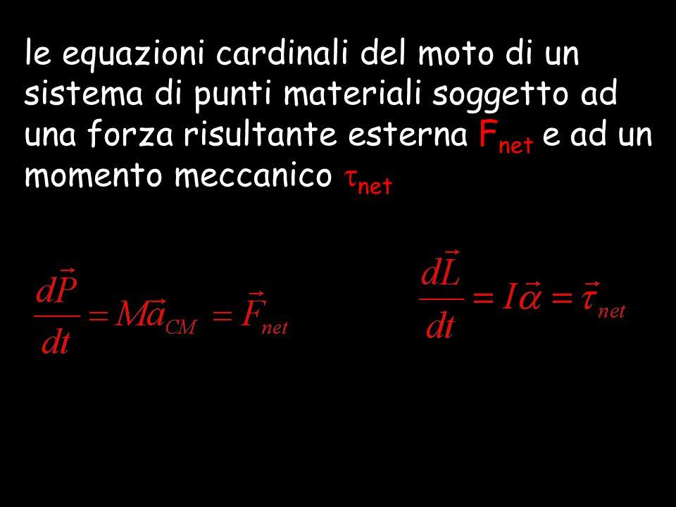 le equazioni cardinali del moto di un sistema di punti materiali soggetto ad una forza risultante esterna F net e ad un momento meccanico net