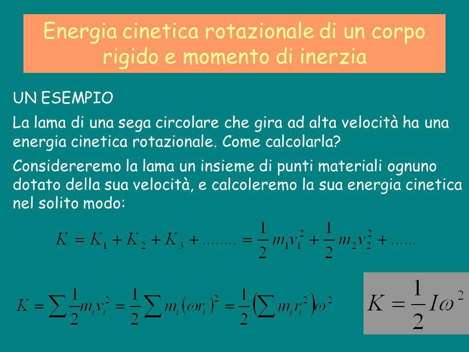 Energia cinetica rotazionale di un corpo rigido e momento di inerzia UN ESEMPIO La lama di una sega circolare che gira ad alta velocità ha una energia