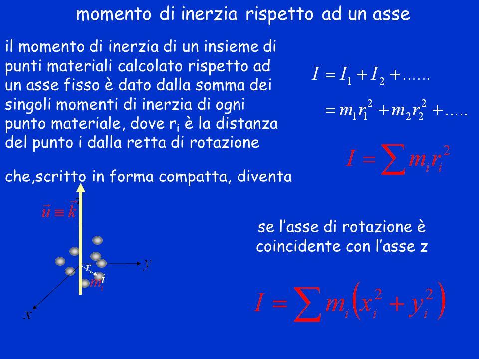 il momento di inerzia di un insieme di punti materiali calcolato rispetto ad un asse fisso è dato dalla somma dei singoli momenti di inerzia di ogni p