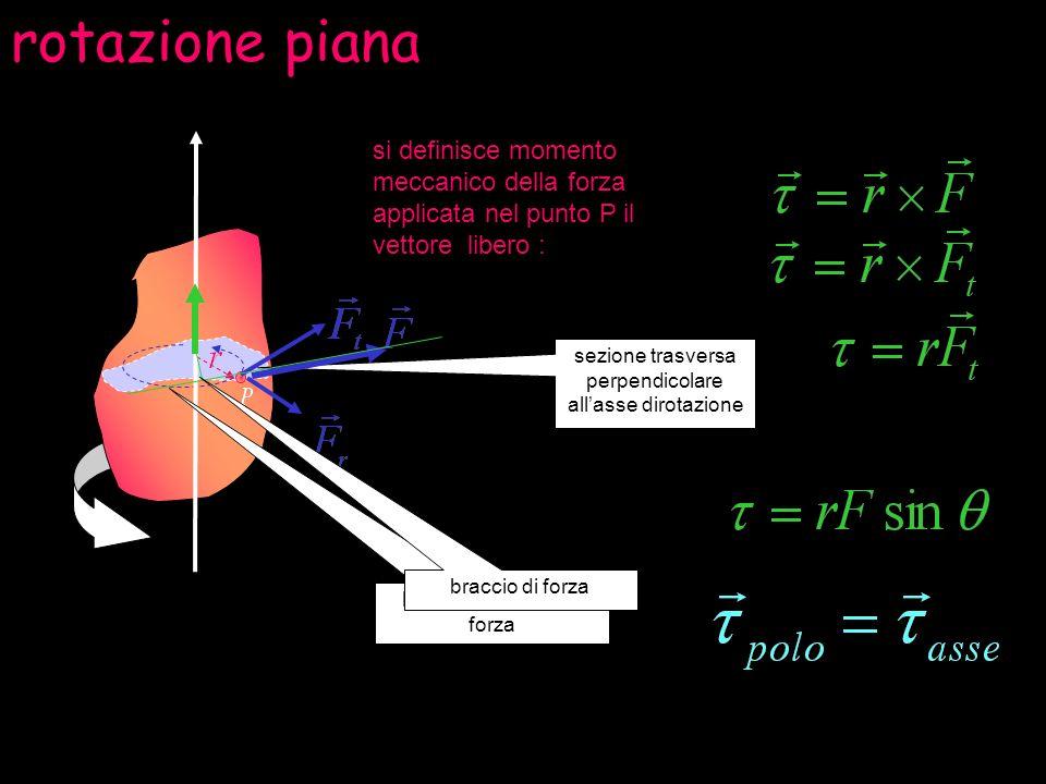 rotazione piana sezione trasversa perpendicolare allasse dirotazione si definisce momento meccanico della forza applicata nel punto P il vettore liber