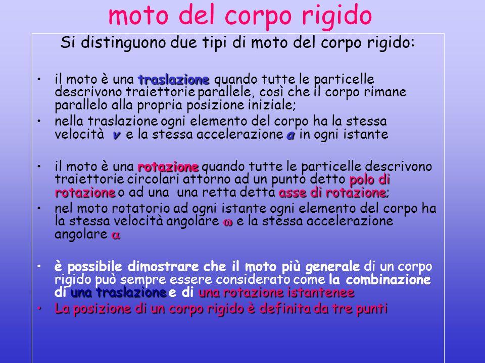 moto del corpo rigido Si distinguono due tipi di moto del corpo rigido: traslazioneil moto è una traslazione quando tutte le particelle descrivono tra