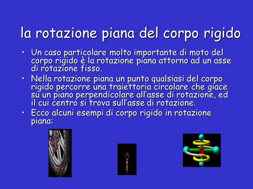 la rotazione piana del corpo rigido Un caso particolare molto importante di moto del corpo rigido è la rotazione piana attorno ad un asse di rotazione