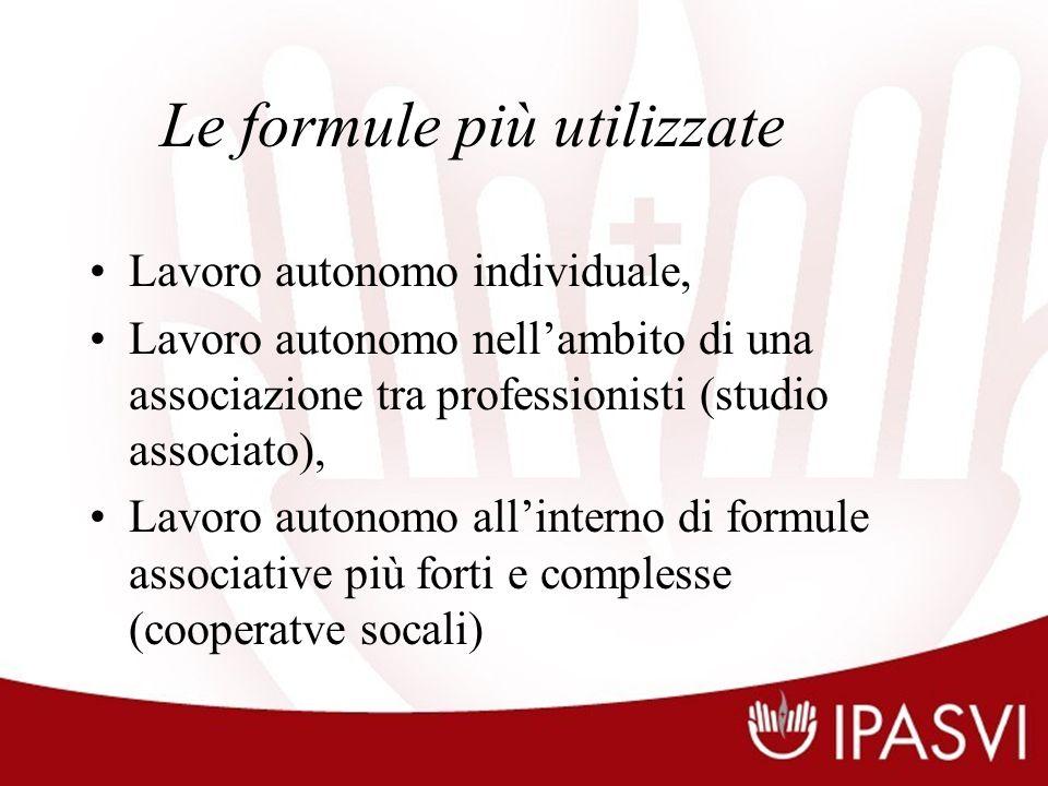 Le formule più utilizzate Lavoro autonomo individuale, Lavoro autonomo nellambito di una associazione tra professionisti (studio associato), Lavoro autonomo allinterno di formule associative più forti e complesse (cooperatve socali)