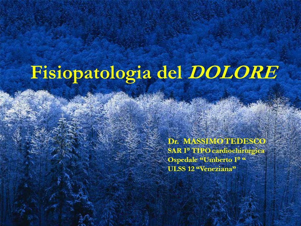 Fisiopatologia del DOLORE Dr. MASSIMO TEDESCO SAR I° TIPO cardiochirurgica Ospedale Umberto I° ULSS 12 Veneziana