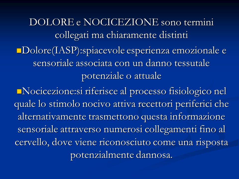 NOCICEZIONE è un fenomeno dinamico caratterizzato da plasticità del sistema nervoso Dolore non è più considerato un sistema rigido con una semplice relazione stimolo- risposta.