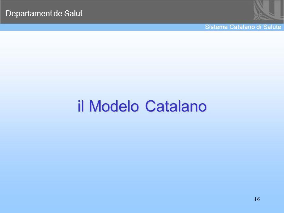 Departament de Salut Sistema Catalano di Salute 16 il Modelo Catalano