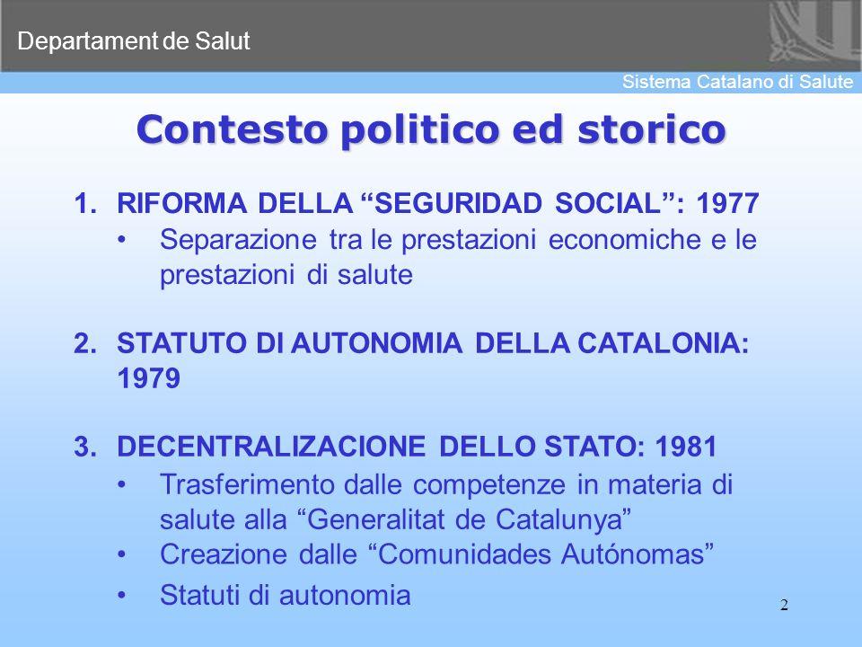 Departament de Salut Sistema Catalano di Salute 2 Contesto politico ed storico 1.RIFORMA DELLA SEGURIDAD SOCIAL: 1977 Separazione tra le prestazioni e