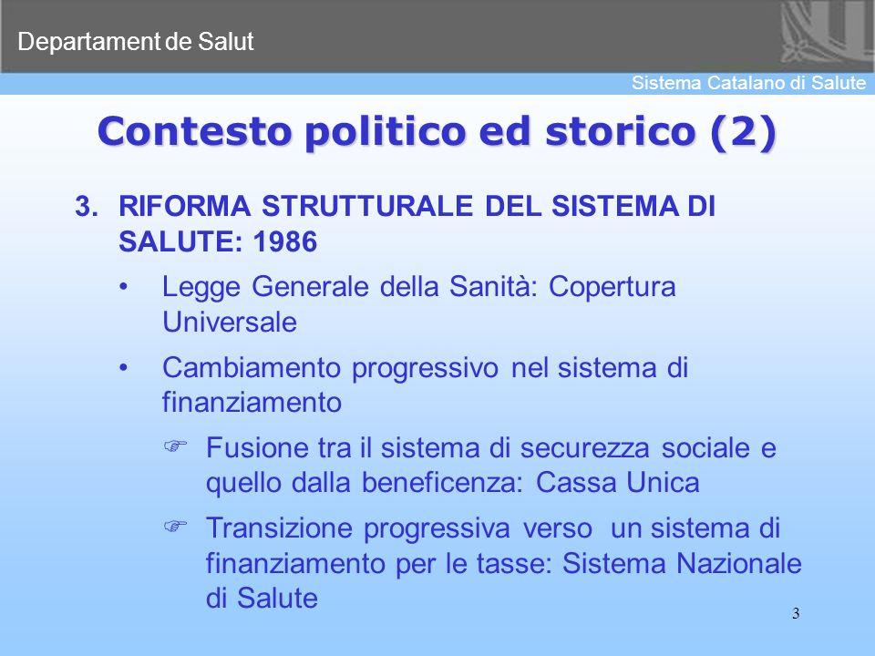 Departament de Salut Sistema Catalano di Salute 3 3.RIFORMA STRUTTURALE DEL SISTEMA DI SALUTE: 1986 Legge Generale della Sanità: Copertura Universale