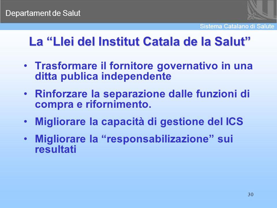 Departament de Salut Sistema Catalano di Salute 30 La Llei del Institut Catala de la Salut Trasformare il fornitore governativo in una ditta publica i