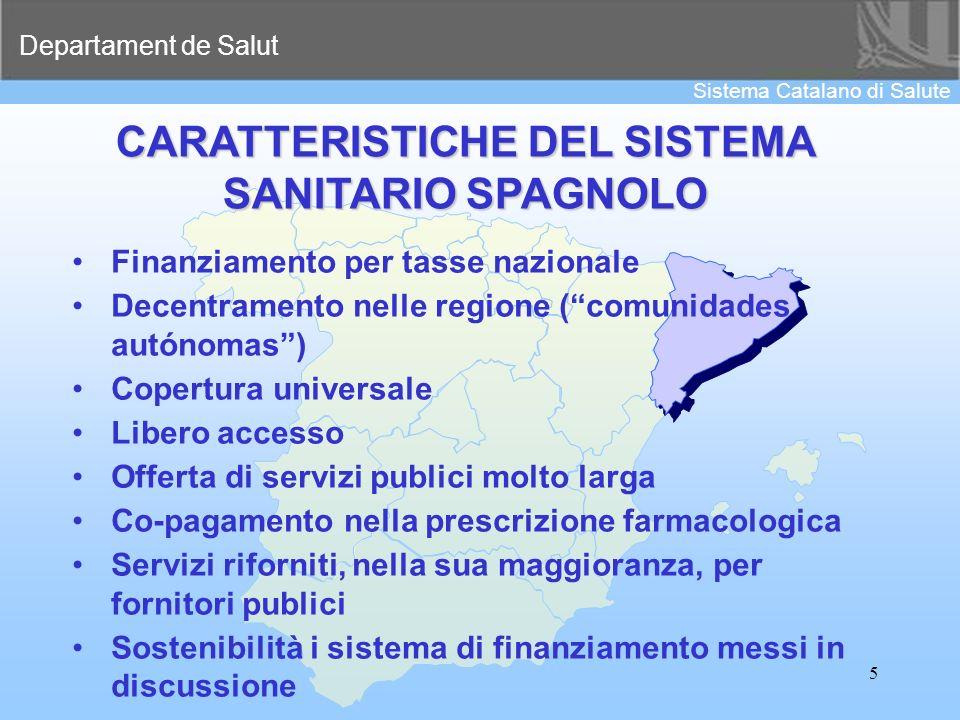 Departament de Salut Sistema Catalano di Salute 5 CARATTERISTICHE DEL SISTEMA SANITARIO SPAGNOLO Finanziamento per tasse nazionale Decentramento nelle