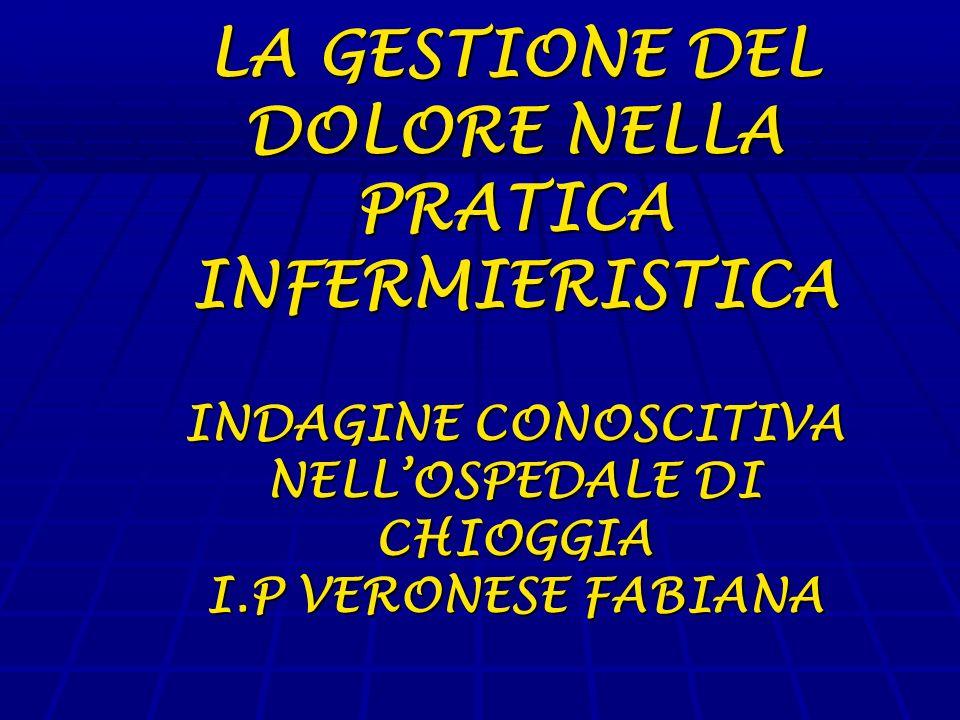 LA GESTIONE DEL DOLORE NELLA PRATICA INFERMIERISTICA INDAGINE CONOSCITIVA NELLOSPEDALE DI CHIOGGIA I.P VERONESE FABIANA