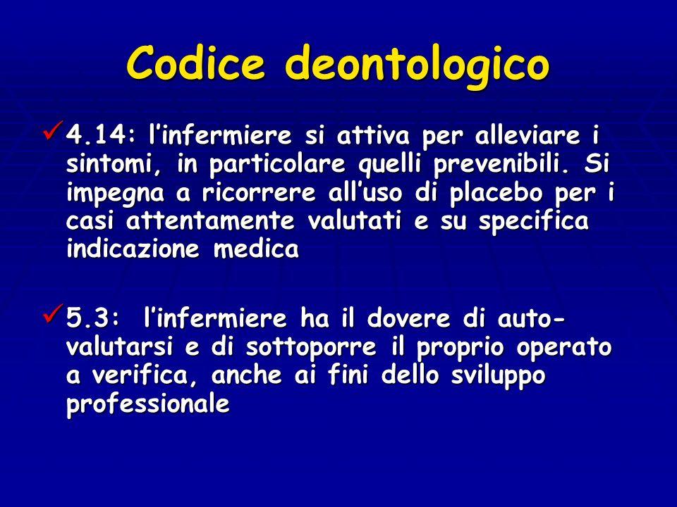 Codice deontologico 4.14: linfermiere si attiva per alleviare i sintomi, in particolare quelli prevenibili. Si impegna a ricorrere alluso di placebo p