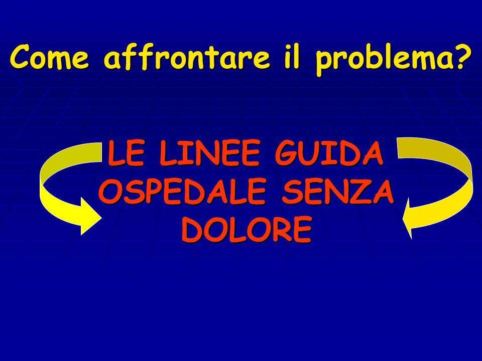 Come affrontare il problema? LE LINEE GUIDA OSPEDALE SENZA DOLORE