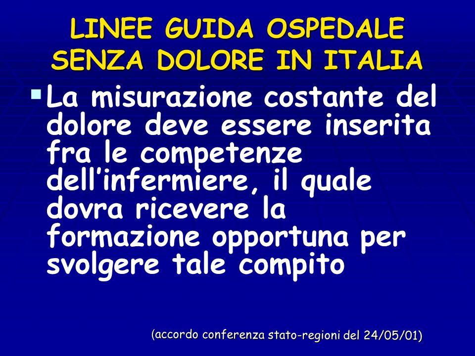 LINEE GUIDA OSPEDALE SENZA DOLORE IN ITALIA La misurazione costante del dolore deve essere inserita fra le competenze dellinfermiere, il quale dovra r