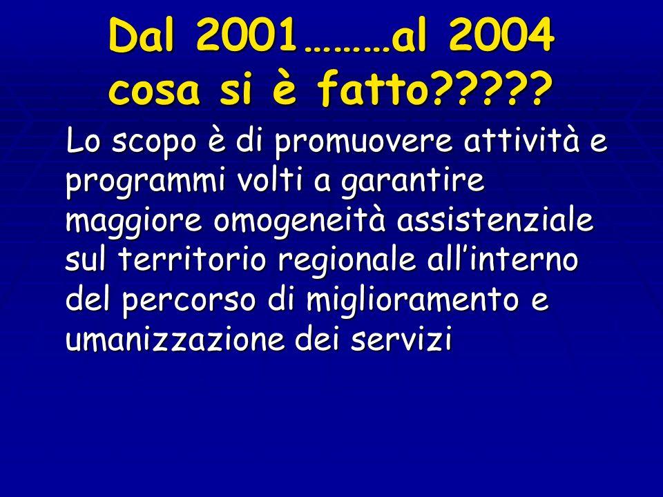 Dal 2001………al 2004 cosa si è fatto????? Lo scopo è di promuovere attività e programmi volti a garantire maggiore omogeneità assistenziale sul territor