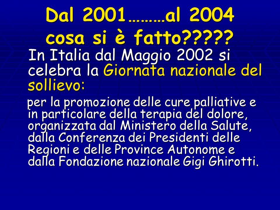 Dal 2001………al 2004 cosa si è fatto????? In Italia dal Maggio 2002 si celebra la Giornata nazionale del sollievo: In Italia dal Maggio 2002 si celebra