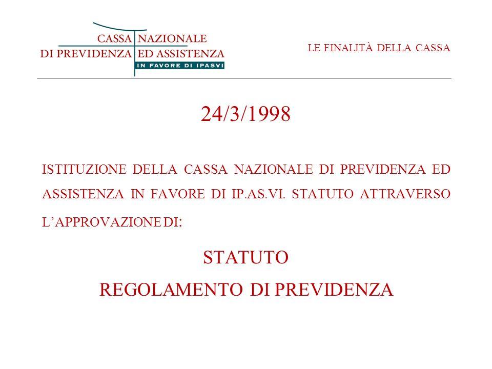 LE FINALITÀ DELLA CASSA 24/3/1998 ISTITUZIONE DELLA CASSA NAZIONALE DI PREVIDENZA ED ASSISTENZA IN FAVORE DI IP.AS.VI. STATUTO ATTRAVERSO LAPPROVAZION