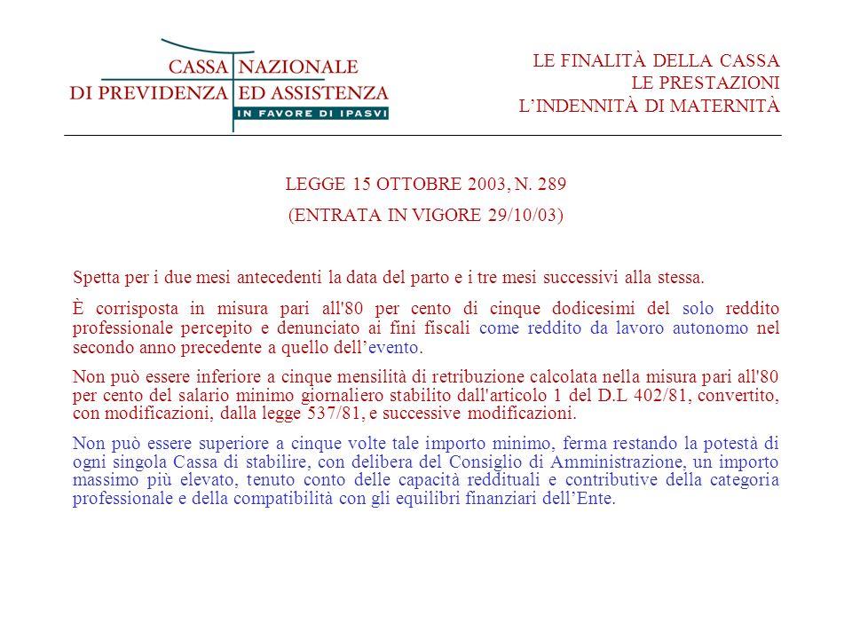 LE FINALITÀ DELLA CASSA LE PRESTAZIONI LINDENNITÀ DI MATERNITÀ LEGGE 15 OTTOBRE 2003, N. 289 (ENTRATA IN VIGORE 29/10/03) Spetta per i due mesi antece