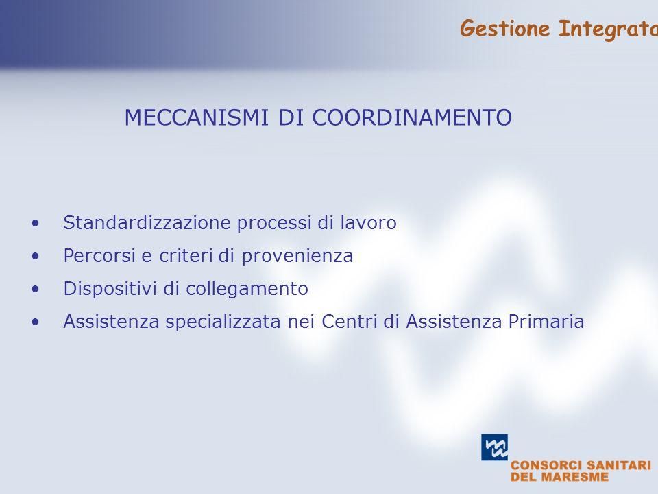 text MECCANISMI DI COORDINAMENTO Standardizzazione processi di lavoro Percorsi e criteri di provenienza Dispositivi di collegamento Assistenza specializzata nei Centri di Assistenza Primaria Gestione Integrata