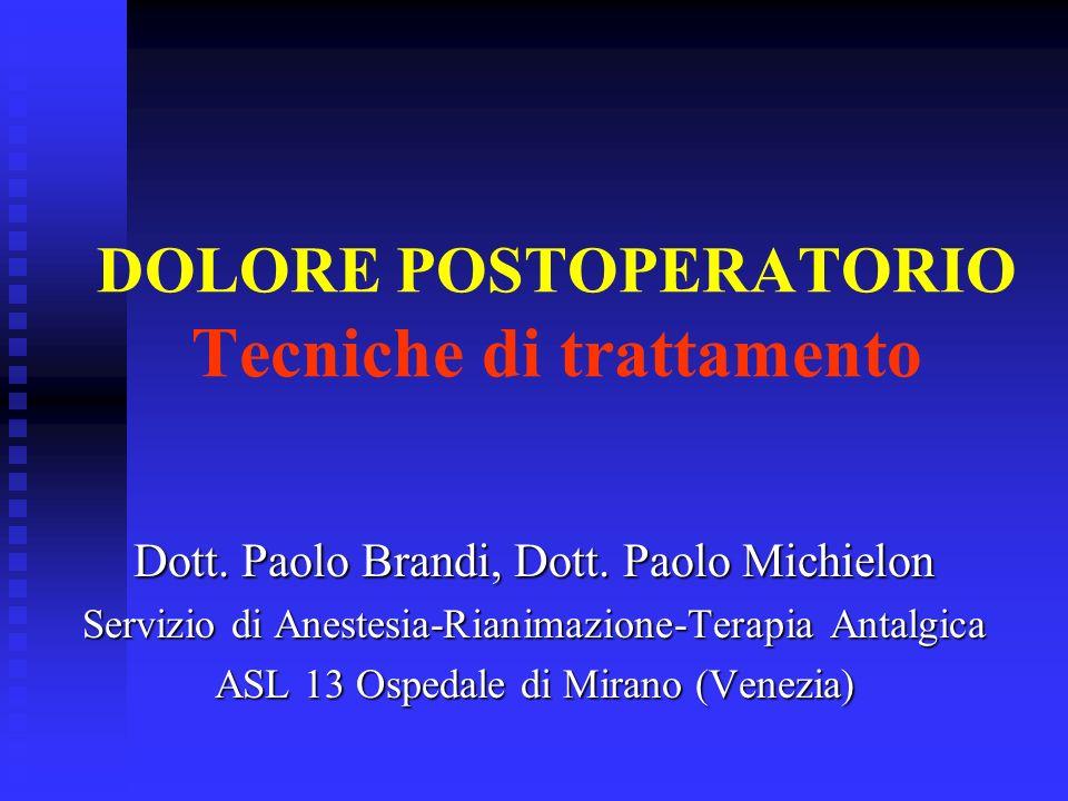 DOLORE POSTOPERATORIO Tecniche di trattamento Dott. Paolo Brandi, Dott. Paolo Michielon Servizio di Anestesia-Rianimazione-Terapia Antalgica ASL 13 Os
