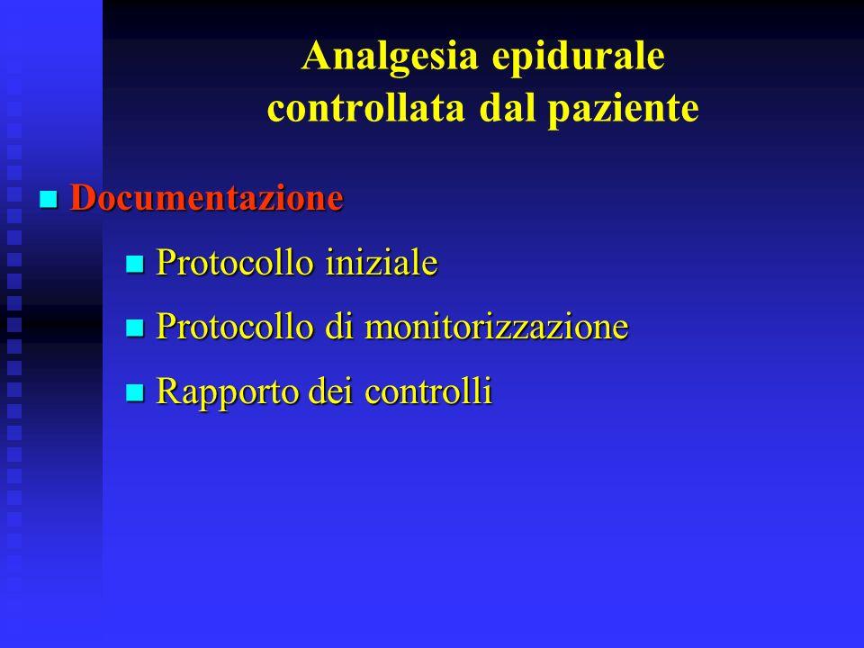 Analgesia epidurale controllata dal paziente Documentazione Documentazione Protocollo iniziale Protocollo iniziale Protocollo di monitorizzazione Prot