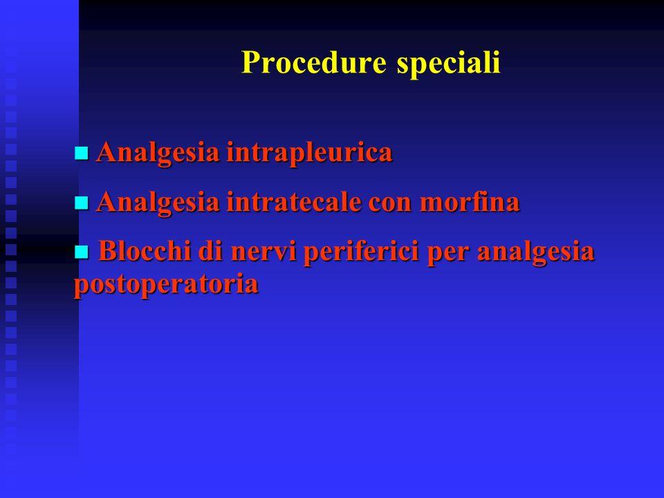 Procedure speciali Analgesia intrapleurica Analgesia intrapleurica Analgesia intratecale con morfina Analgesia intratecale con morfina Blocchi di nerv