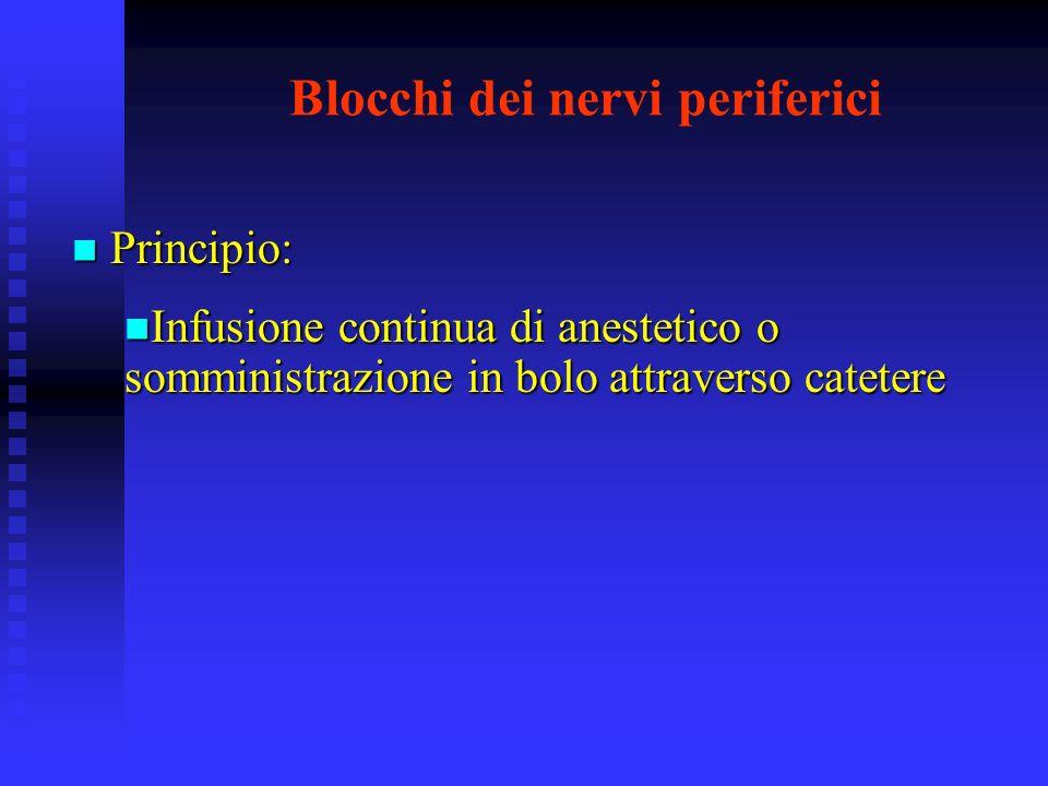 Blocchi dei nervi periferici Principio: Principio: Infusione continua di anestetico o somministrazione in bolo attraverso catetere Infusione continua