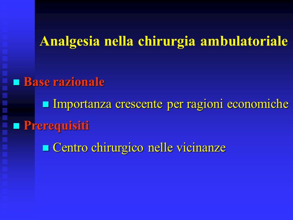 Analgesia nella chirurgia ambulatoriale Base razionale Base razionale Importanza crescente per ragioni economiche Importanza crescente per ragioni eco