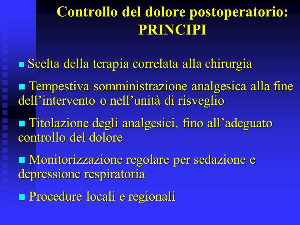 Controllo del dolore postoperatorio: PRINCIPI Scelta della terapia correlata alla chirurgia Scelta della terapia correlata alla chirurgia Tempestiva s