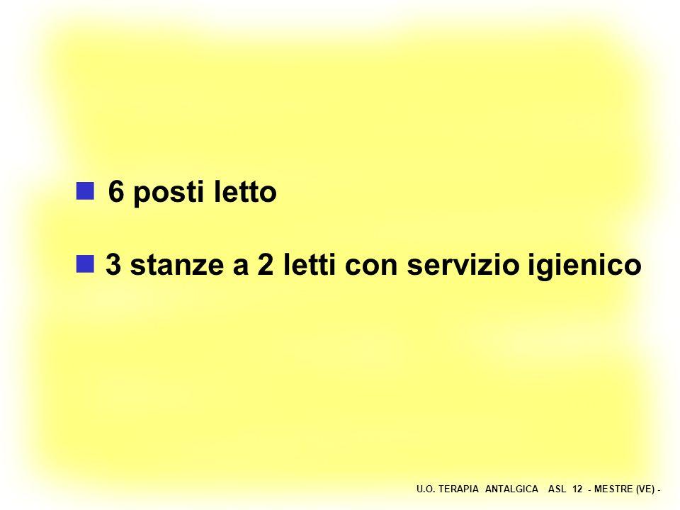 U.O. TERAPIA ANTALGICA ASL 12 - MESTRE (VE) - 6 posti letto 3 stanze a 2 letti con servizio igienico