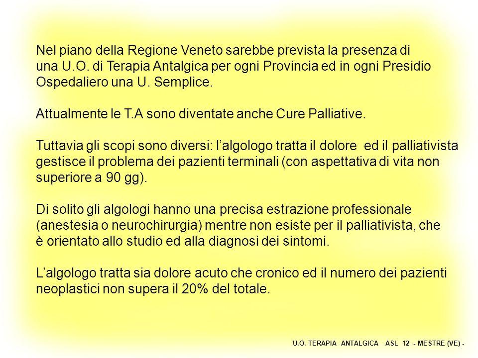 U.O. TERAPIA ANTALGICA ASL 12 - MESTRE (VE) - Nel piano della Regione Veneto sarebbe prevista la presenza di una U.O. di Terapia Antalgica per ogni Pr