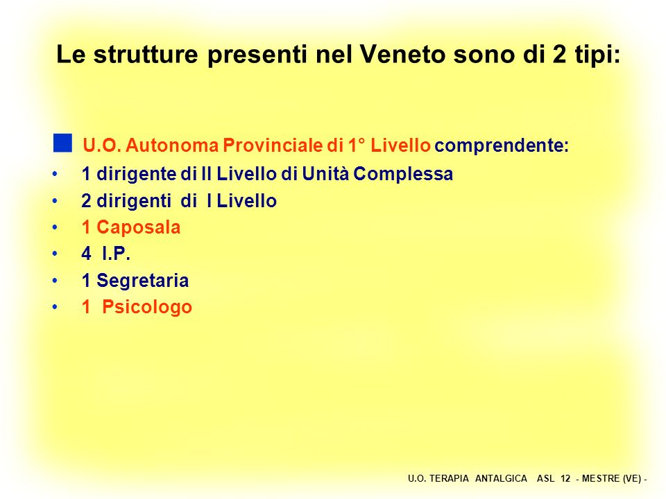 U.O. TERAPIA ANTALGICA ASL 12 - MESTRE (VE) - Le strutture presenti nel Veneto sono di 2 tipi: U.O. Autonoma Provinciale di 1° Livello comprendente: 1