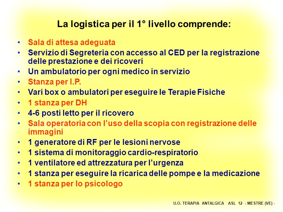 U.O. TERAPIA ANTALGICA ASL 12 - MESTRE (VE) - La logistica per il 1° livello comprende: Sala di attesa adeguata Servizio di Segreteria con accesso al
