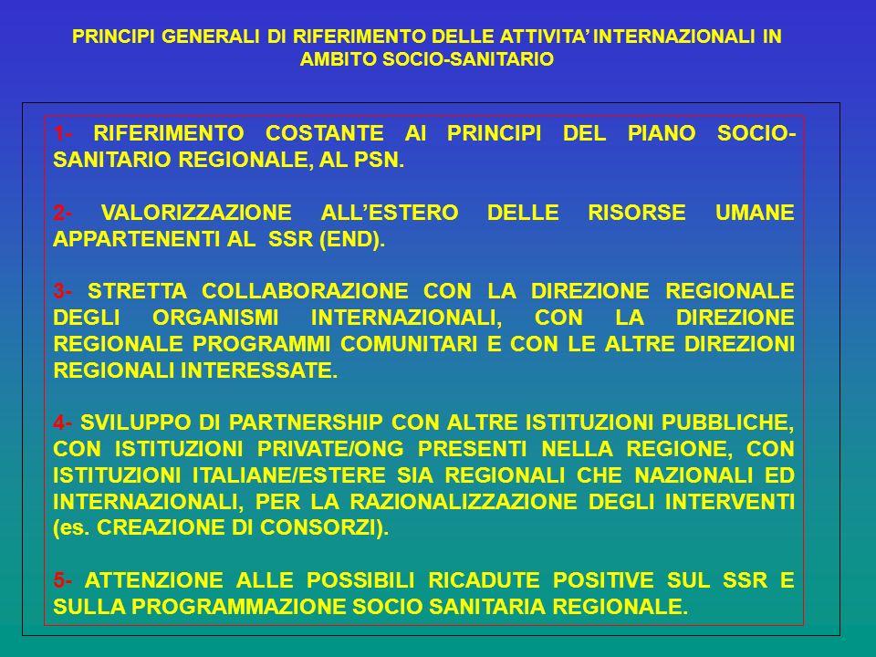 PRINCIPI GENERALI DI RIFERIMENTO DELLE ATTIVITA INTERNAZIONALI IN AMBITO SOCIO-SANITARIO 1- RIFERIMENTO COSTANTE AI PRINCIPI DEL PIANO SOCIO- SANITARIO REGIONALE, AL PSN.