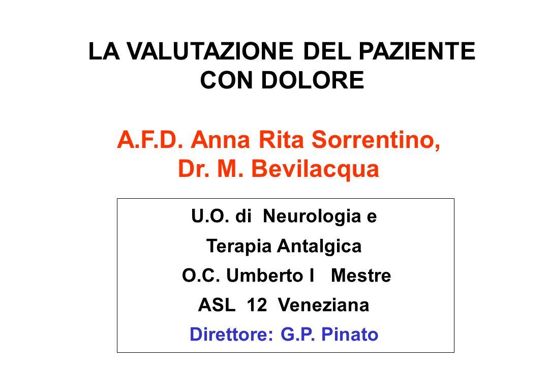 A.F.D. Anna Rita Sorrentino, Dr. M. Bevilacqua LA VALUTAZIONE DEL PAZIENTE CON DOLORE U.O. di Neurologia e Terapia Antalgica O.C. Umberto I Mestre ASL