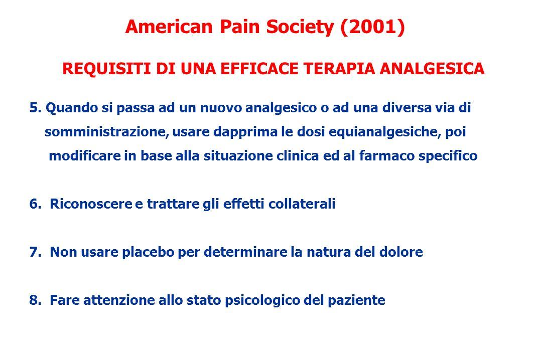 5. Quando si passa ad un nuovo analgesico o ad una diversa via di somministrazione, usare dapprima le dosi equianalgesiche, poi modificare in base all