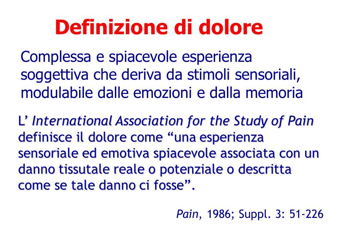 Definizione di dolore L International Association for the Study of Pain definisce il dolore come una esperienza sensoriale ed emotiva spiacevole assoc