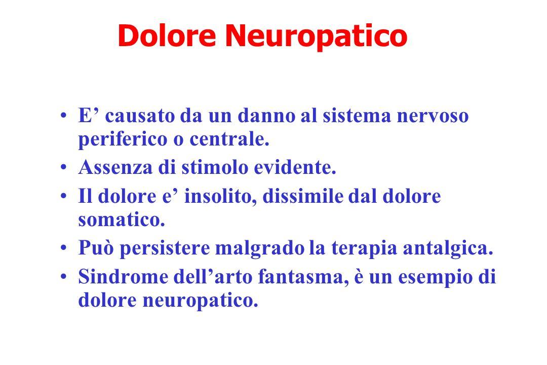 Dolore Neuropatico E causato da un danno al sistema nervoso periferico o centrale. Assenza di stimolo evidente. Il dolore e insolito, dissimile dal do