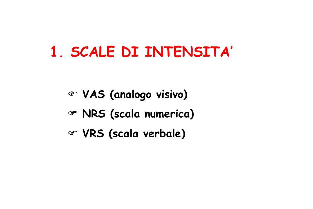 VAS (analogo visivo) NRS (scala numerica) VRS (scala verbale) 1. SCALE DI INTENSITA