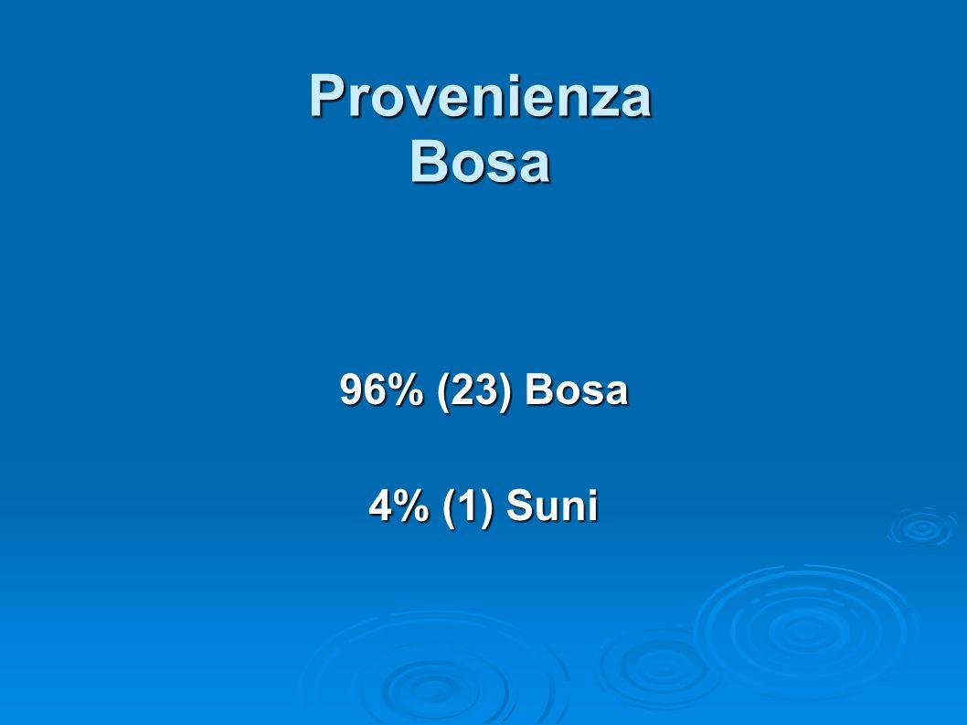 Provenienza Bosa 96% (23) Bosa 4% (1) Suni