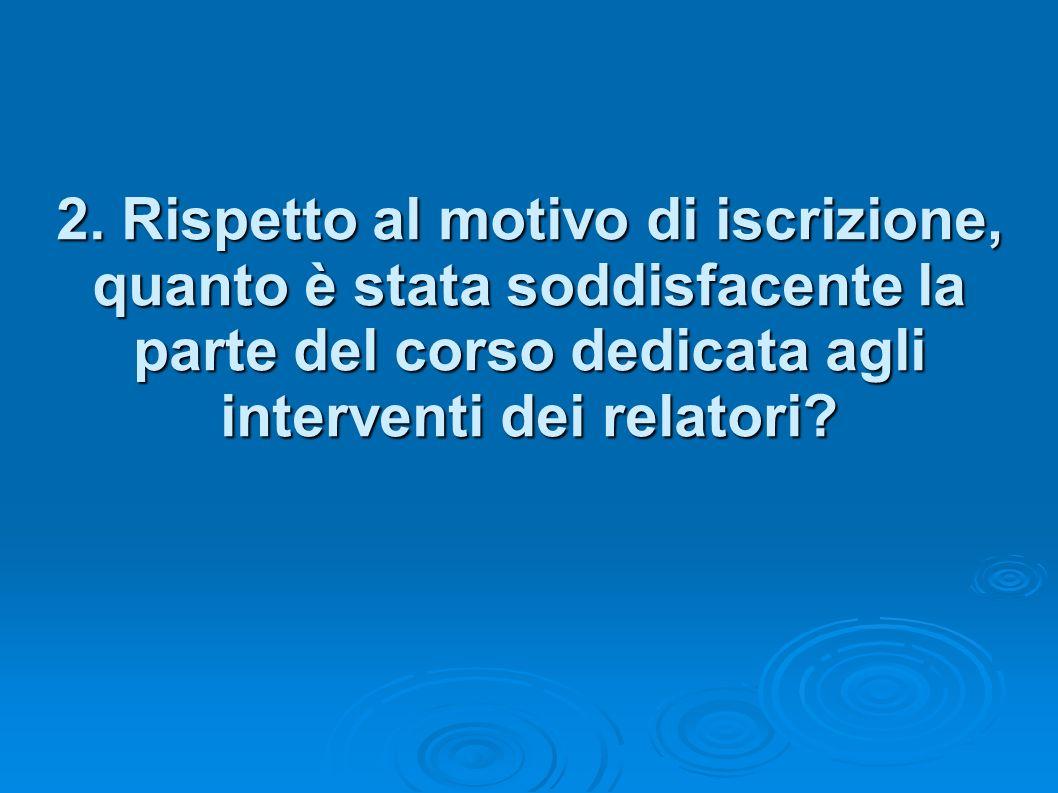 2. Rispetto al motivo di iscrizione, quanto è stata soddisfacente la parte del corso dedicata agli interventi dei relatori?