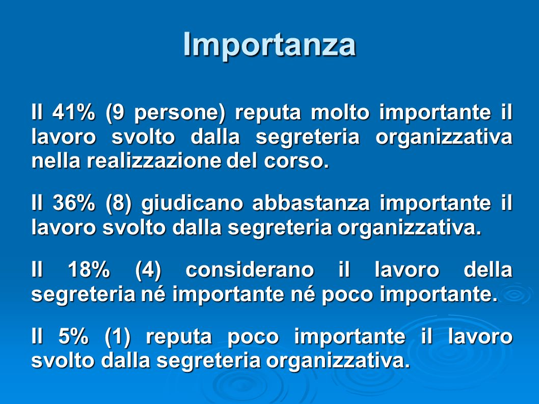 Importanza Il 41% (9 persone) reputa molto importante il lavoro svolto dalla segreteria organizzativa nella realizzazione del corso.