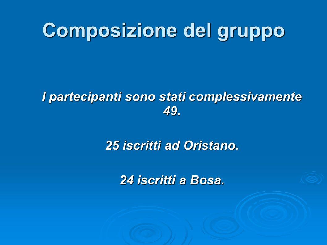 Composizione del gruppo I partecipanti sono stati complessivamente 49. 25 iscritti ad Oristano. 24 iscritti a Bosa.