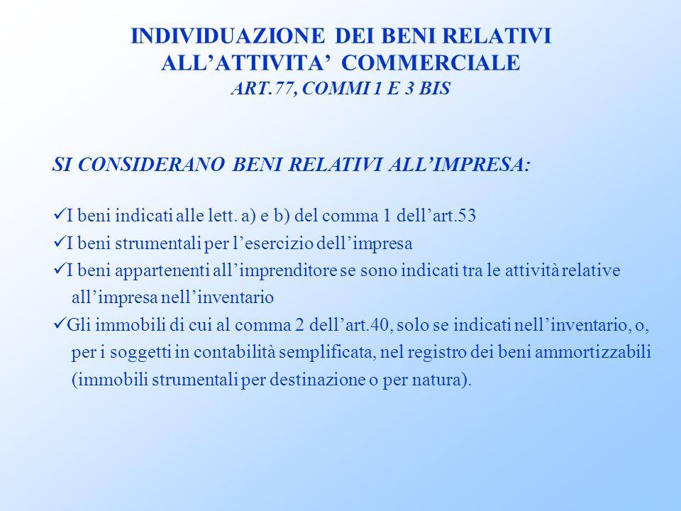 INDIVIDUAZIONE DEI BENI RELATIVI ALLATTIVITA COMMERCIALE ART.77, COMMI 1 E 3 BIS SI CONSIDERANO BENI RELATIVI ALLIMPRESA: I beni indicati alle lett.