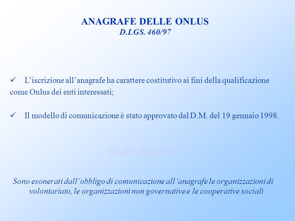 ANAGRAFE DELLE ONLUS D.LGS.