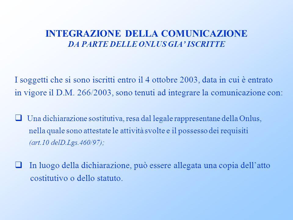 INTEGRAZIONE DELLA COMUNICAZIONE DA PARTE DELLE ONLUS GIA ISCRITTE I soggetti che si sono iscritti entro il 4 ottobre 2003, data in cui è entrato in vigore il D.M.