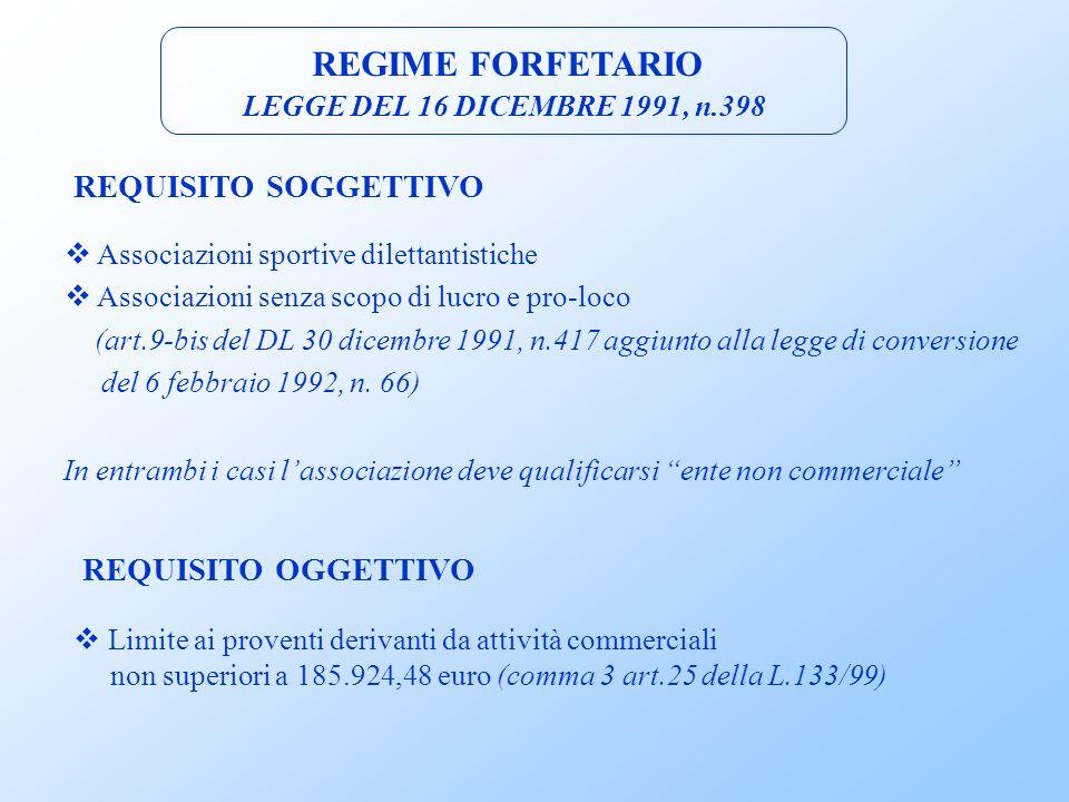 ACCESSO AL REGIME L.398/91 (art.9, c.2, D.P.R.