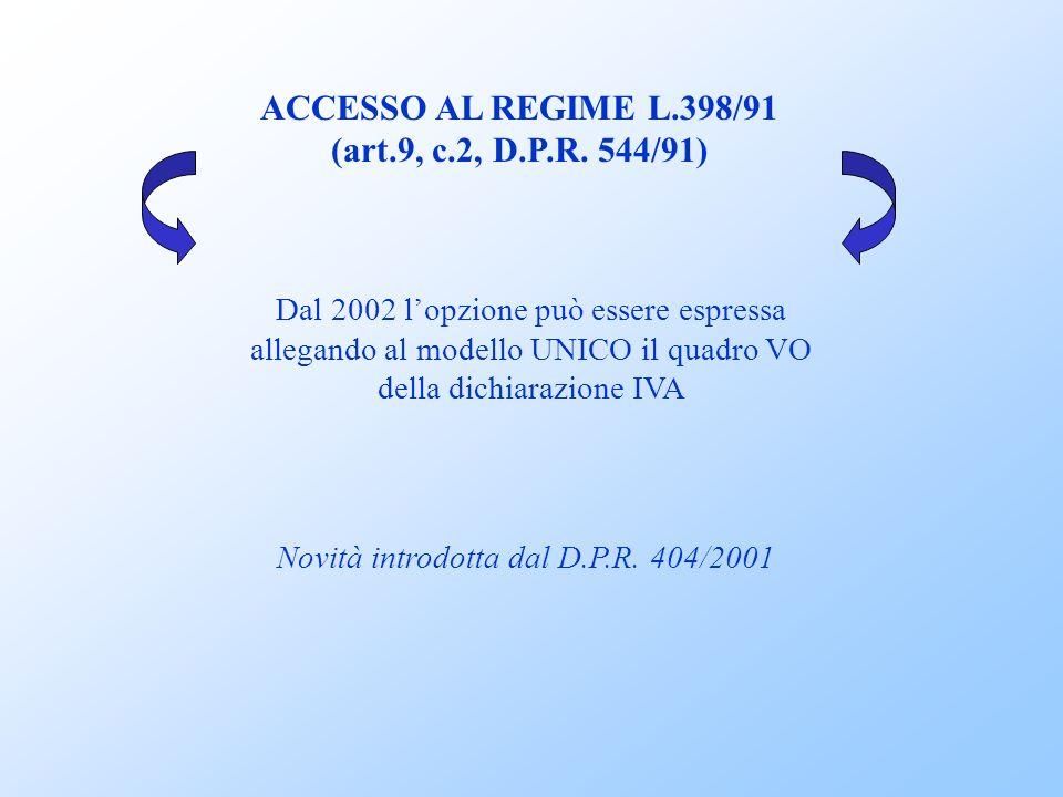 REGIME FORFETARIO LEGGE DEL 16 DICEMBRE 1991, n.