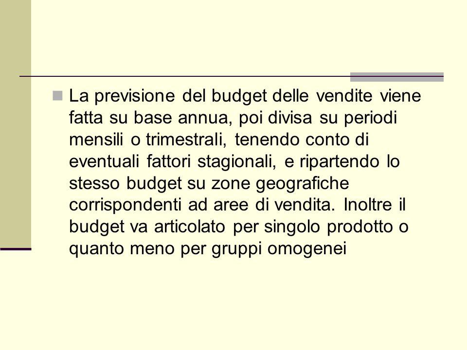 La previsione del budget delle vendite viene fatta su base annua, poi divisa su periodi mensili o trimestrali, tenendo conto di eventuali fattori stag