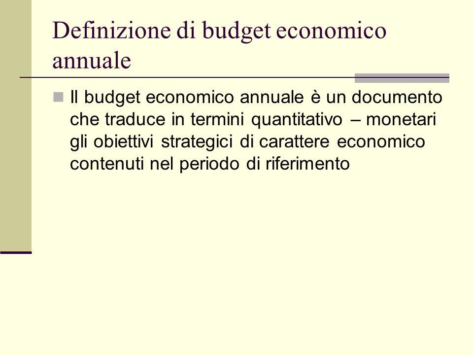 Definizione di budget economico annuale Il budget economico annuale è un documento che traduce in termini quantitativo – monetari gli obiettivi strate